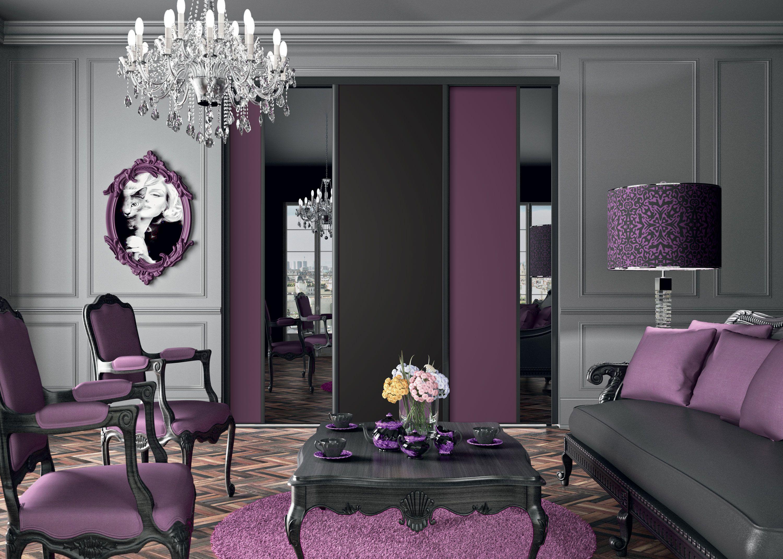 Salon Kazed So Chic  Placard coulissant, Deco violet, Porte miroir