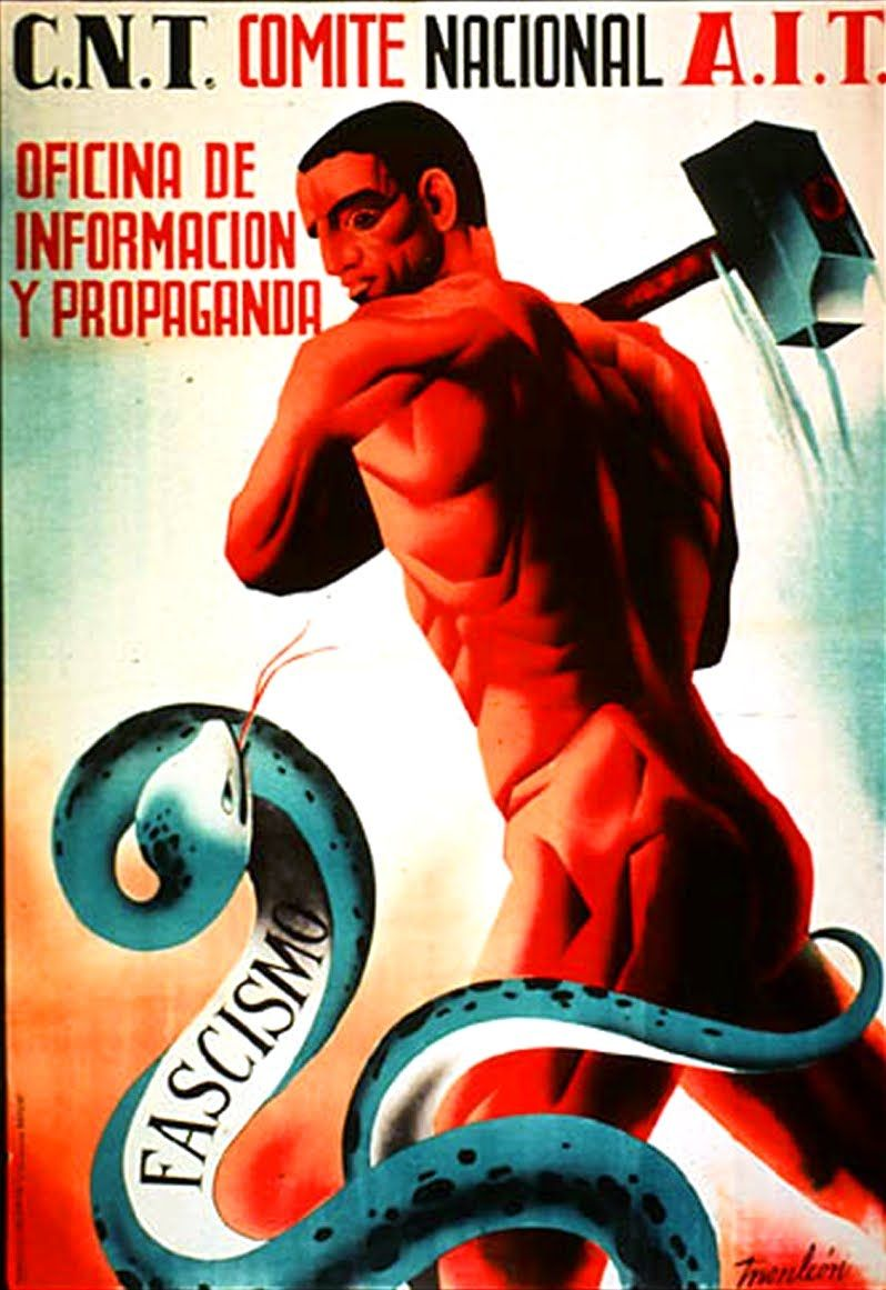 Naked Worker Crashes Hydra Of Fascismo Spanish Civil War - Anti fascismos map us