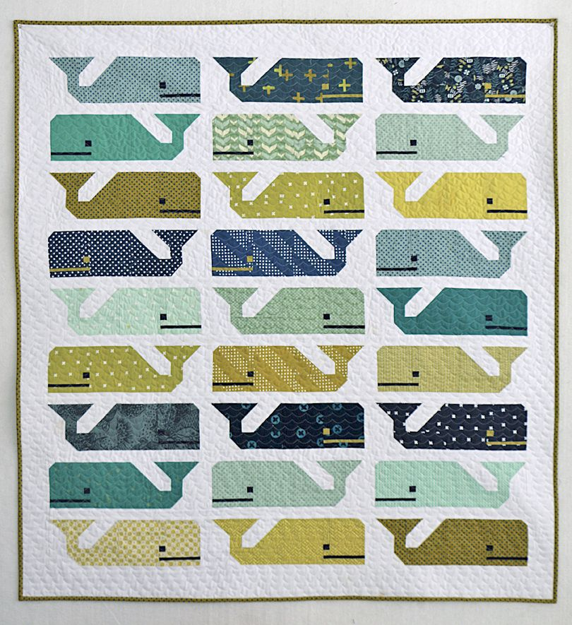 Preppy the Whale Baby Quilt (Freshly Pieced) | Swimming, Modern ... : baby quilt patterns modern - Adamdwight.com