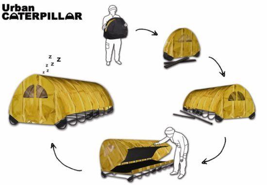 Urban Caterpillar Is An Instant Housing For Homeless Tiny House Design Sleeping Pods Homeless Housing