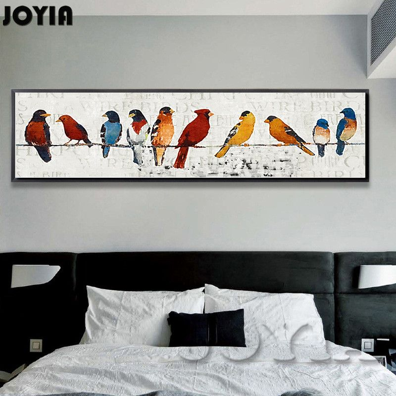 4 98us Abstract Bird Picture Classic Decor Sparrow Group Wire Little Birds Wall Art Canvas Oil Painting Large Long Wide Size Canvas Oil Painting Printed Canv Bird Wall Art Canvas Wall Art Oil