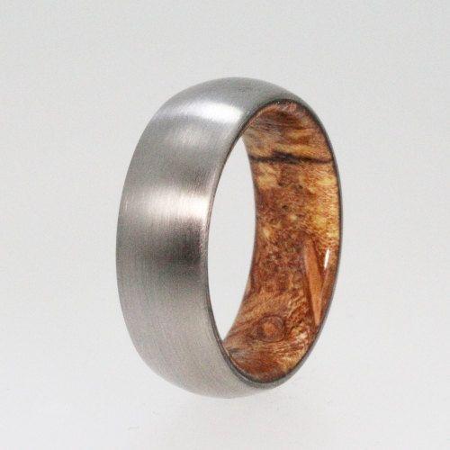 Sindora Wood Ring Brushed Titanium Wedding Band Men Or Womens