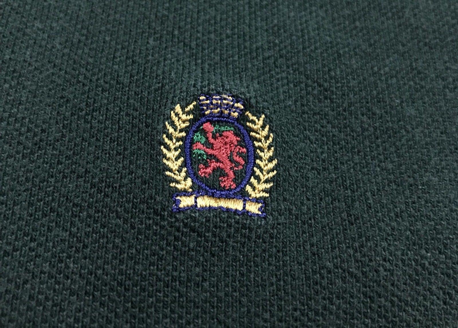VTG 90s Tommy Hilfiger Striped Colorblock Lions Crest Rugby