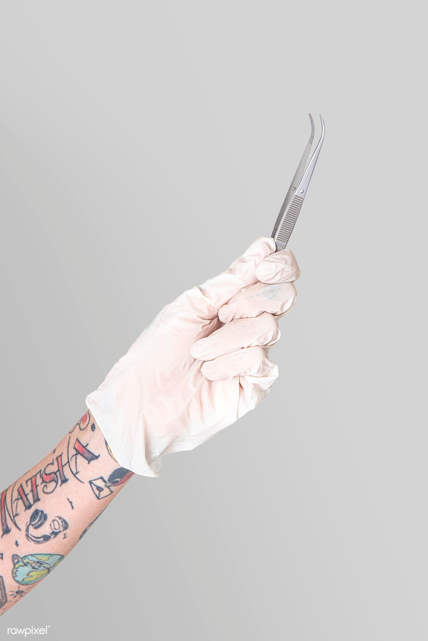 Download Premium Psd Of Tattooed Hand In A White Glove Holding A Curved ในป 2020