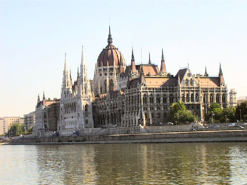 Parliament in Budapest viewed from the Danube River