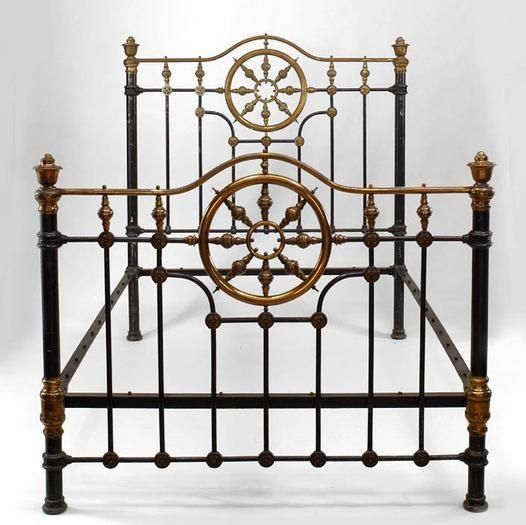 american victorian black painted full size bed with brass wheel design headbd find this pin and more on antique iron beds