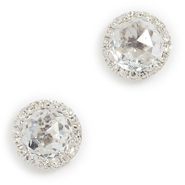 Ef Collection 14k Gold Diamond White Topaz Stud Earrings 495 Liked On Polyvore