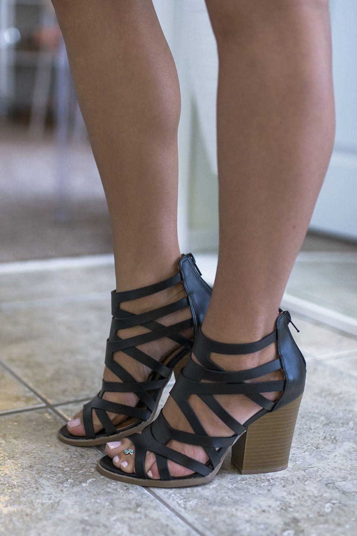 Strike A Pose Black Open Toe Heels