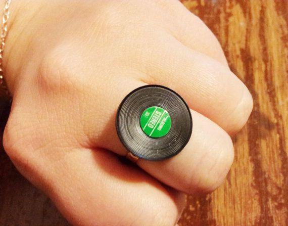 Mini Record Ring by jennascifres on Etsy