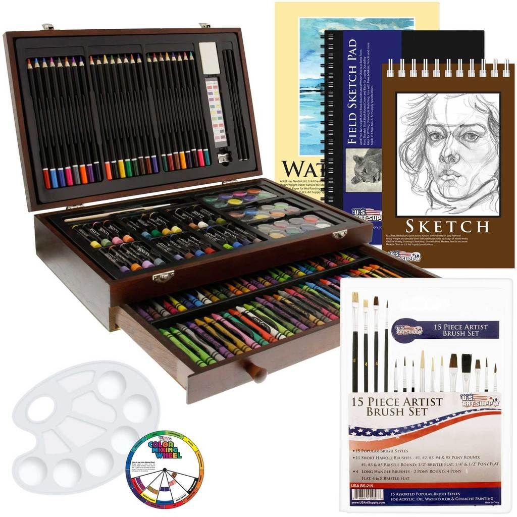 162 PieceDeluxe Mega Wood Box Art, Painting & Drawing Set