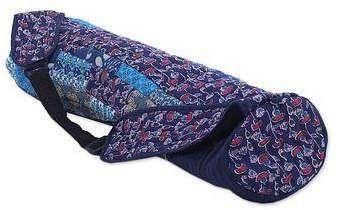 Novica Quilted cotton yoga bag, Serene Dawn