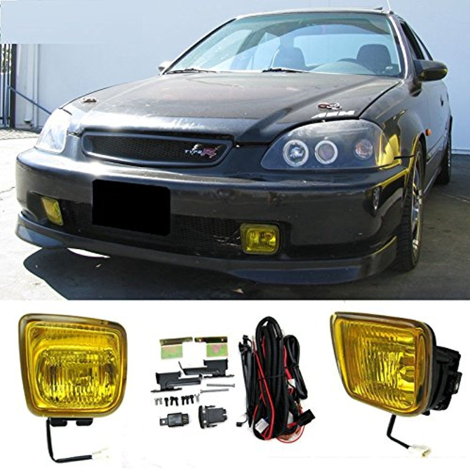 Cpw 1996 1997 1998 honda civic ek jdm yellow fog lights lamps switch wiring