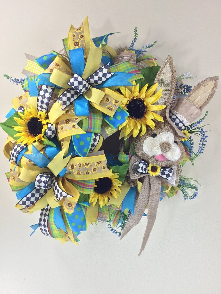 Easter bunny wreath neutral easter sunflower wreath burlap wreath