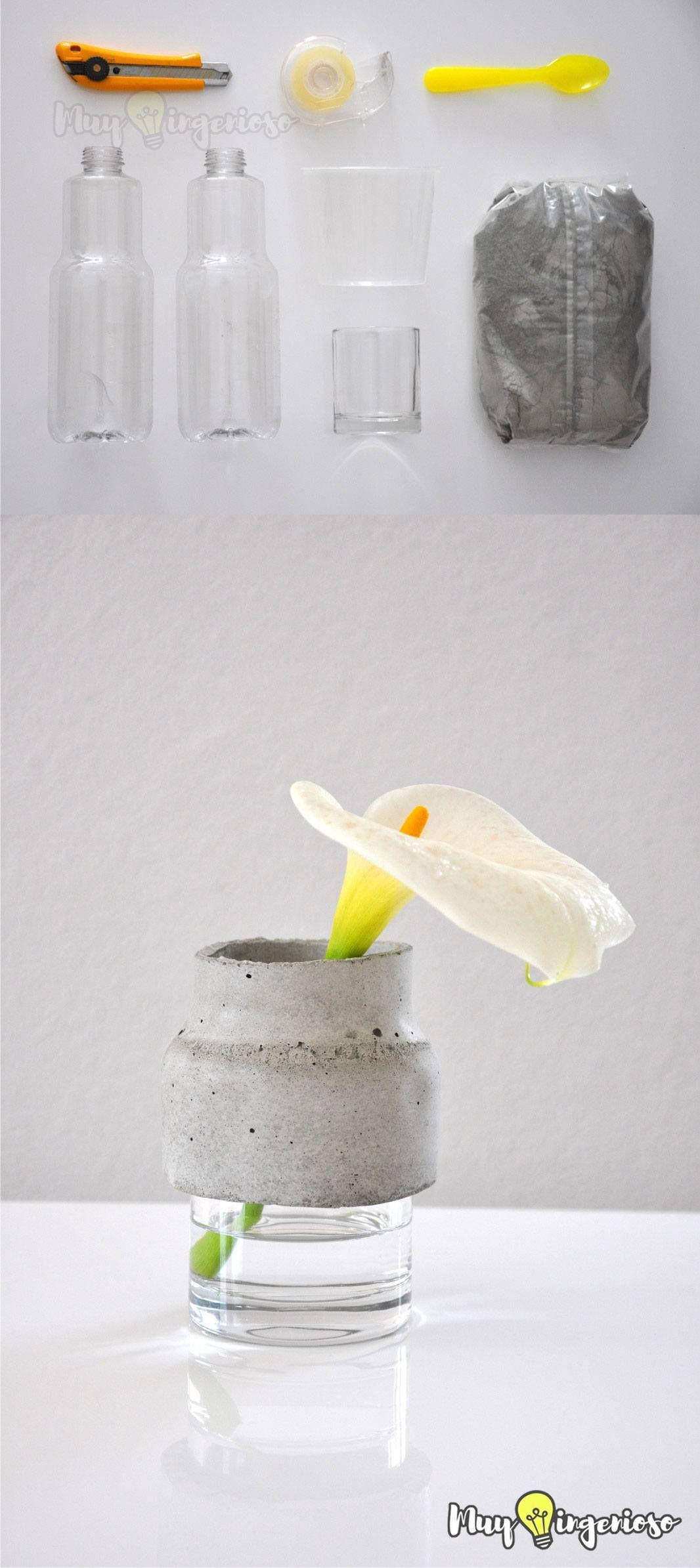 Florero diy con vidrio y hormigón awesome diy pinterest