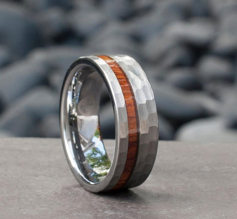 Hammered Grey Tungsten Ring Wood Inlay Male Wedding Band