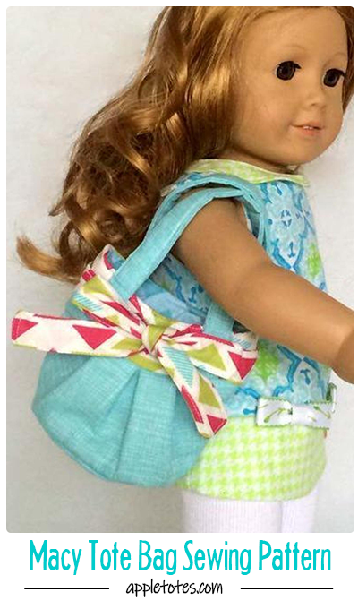 Macy Tote Bag Sewing Pattern for American Girl Dolls - 18 Doll Bag Sewing Pattern #bagsewingpatterns