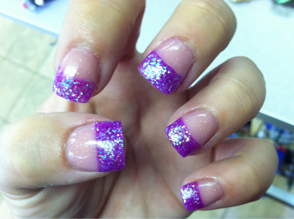 purple french tips nailed