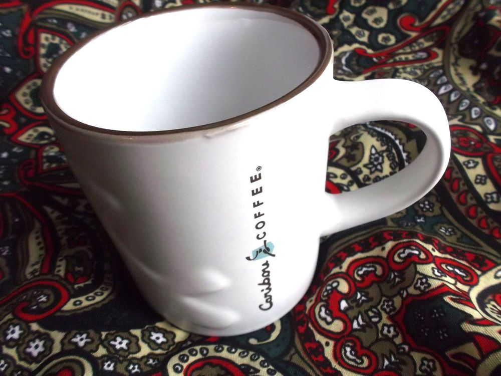 Caribou coffee ceramic caribou image etched mug cup 16 oz
