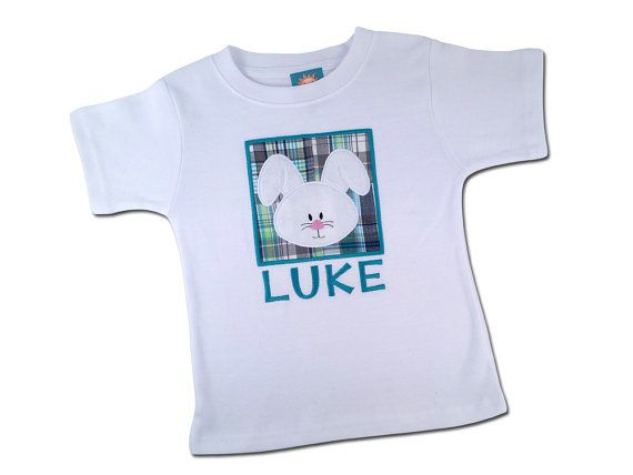 Boy's Easter Shirt - Bunny Box with Embroidered Name by SunbeamRoad