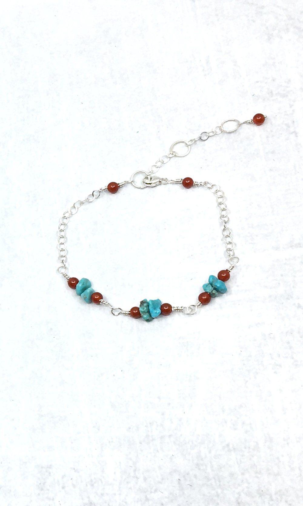 Türkis verstellbares Armband – Sterlingsilber