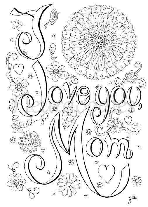 Love Mom Malbild Zum Ausdrucken Handgezeichnetes Von Fleurdoodles