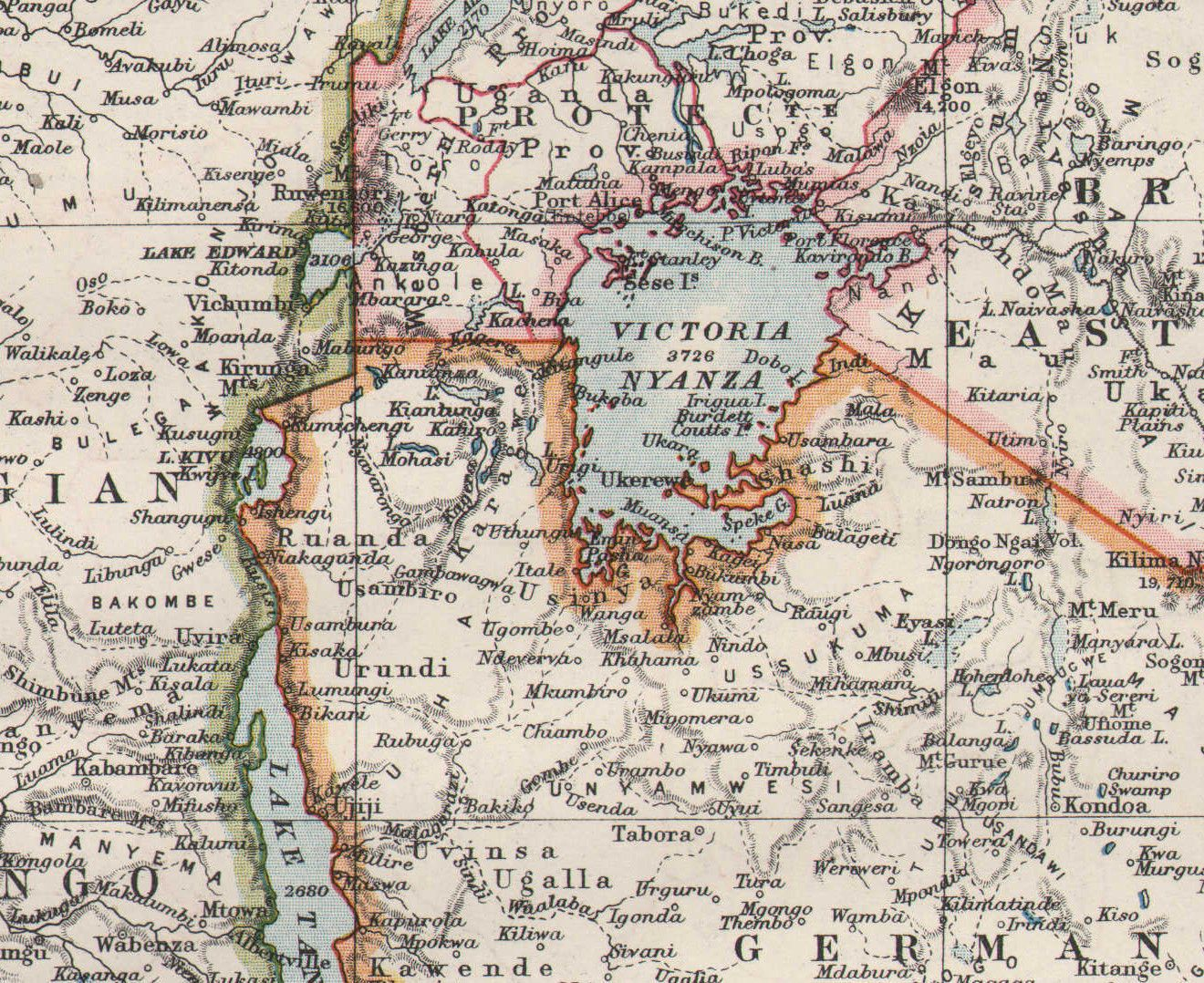 1909 victorian map central africa east german belgian congo rhodesia for sale 5715