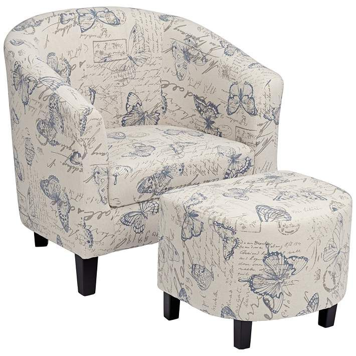 Best Butterfly Print Accent Chair With Ottoman With Images 400 x 300