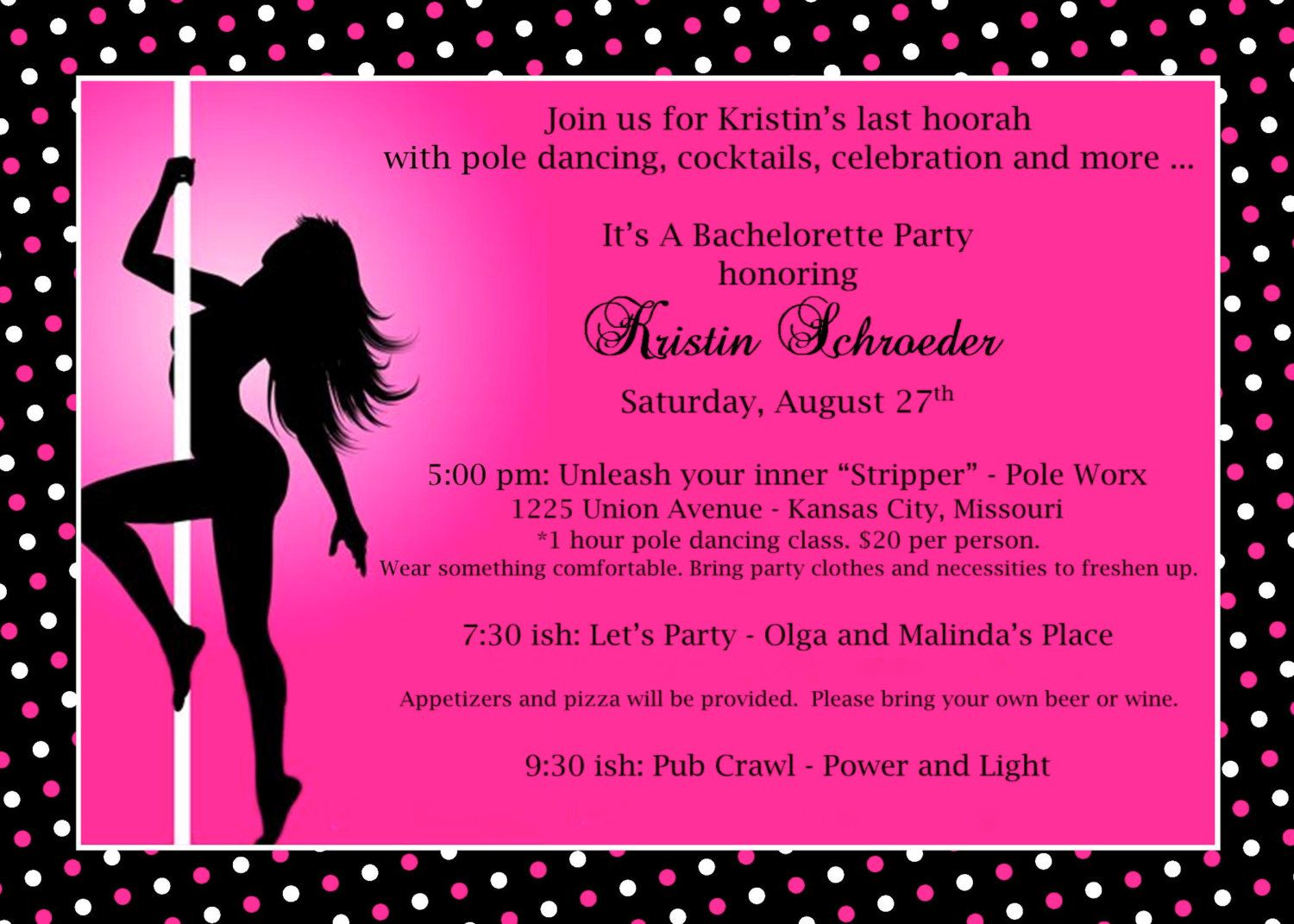 Bachelorette Party Pole Dancing 2 Different by soireebydesign ...