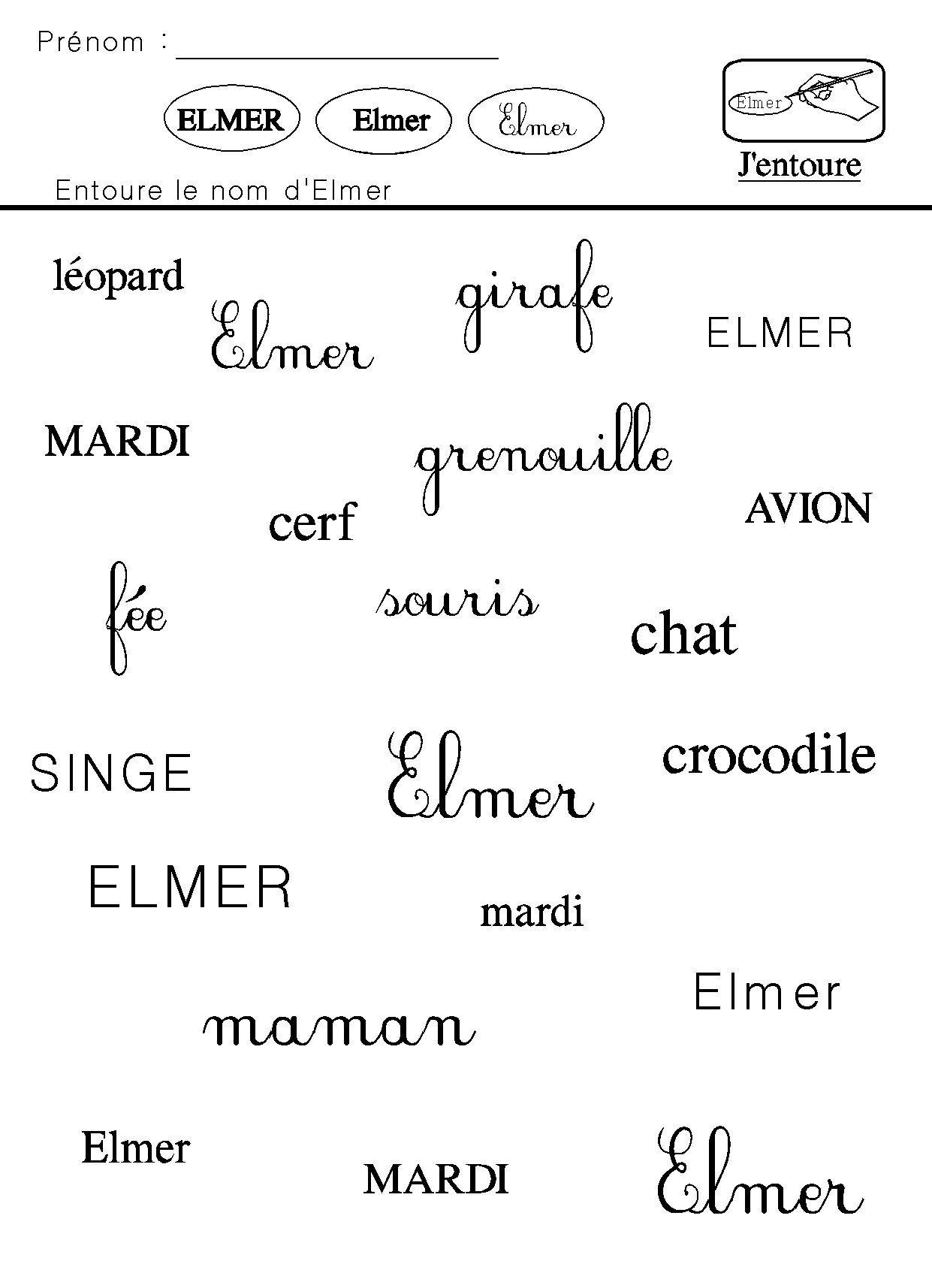J'entoure le nom d Elmer … | Elmer l éléphant, Elmer ...