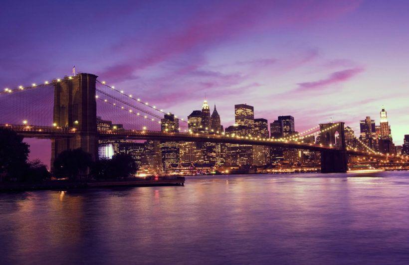 Purple Sky Brooklyn Bridge Wallpaper Mural Murals Wallpaper In 2021 Bridge Wallpaper City Aesthetic New York Wallpaper