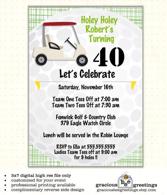 Adult Birthday Party Invitation Men Boys Golf Theme Milestone Mini Digital Printable Invite AB1431