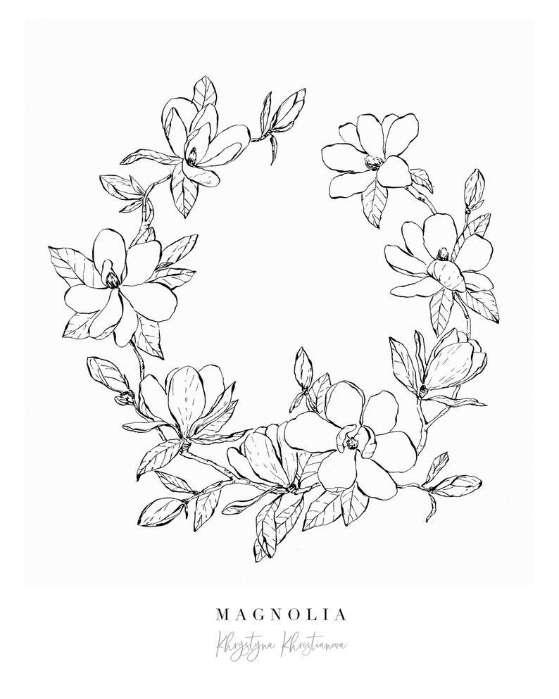 Photo of Magnolia Wreath Fine Art Giclee Print, Wall Decor, Black Ink Botanical Illustration, Flower Drawing Print, High Quality, Black and White,