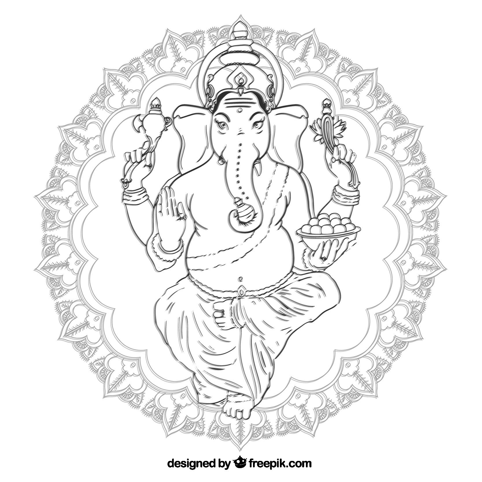 Mandala Monday-Free Ganesha Mandala to Color from Freepik