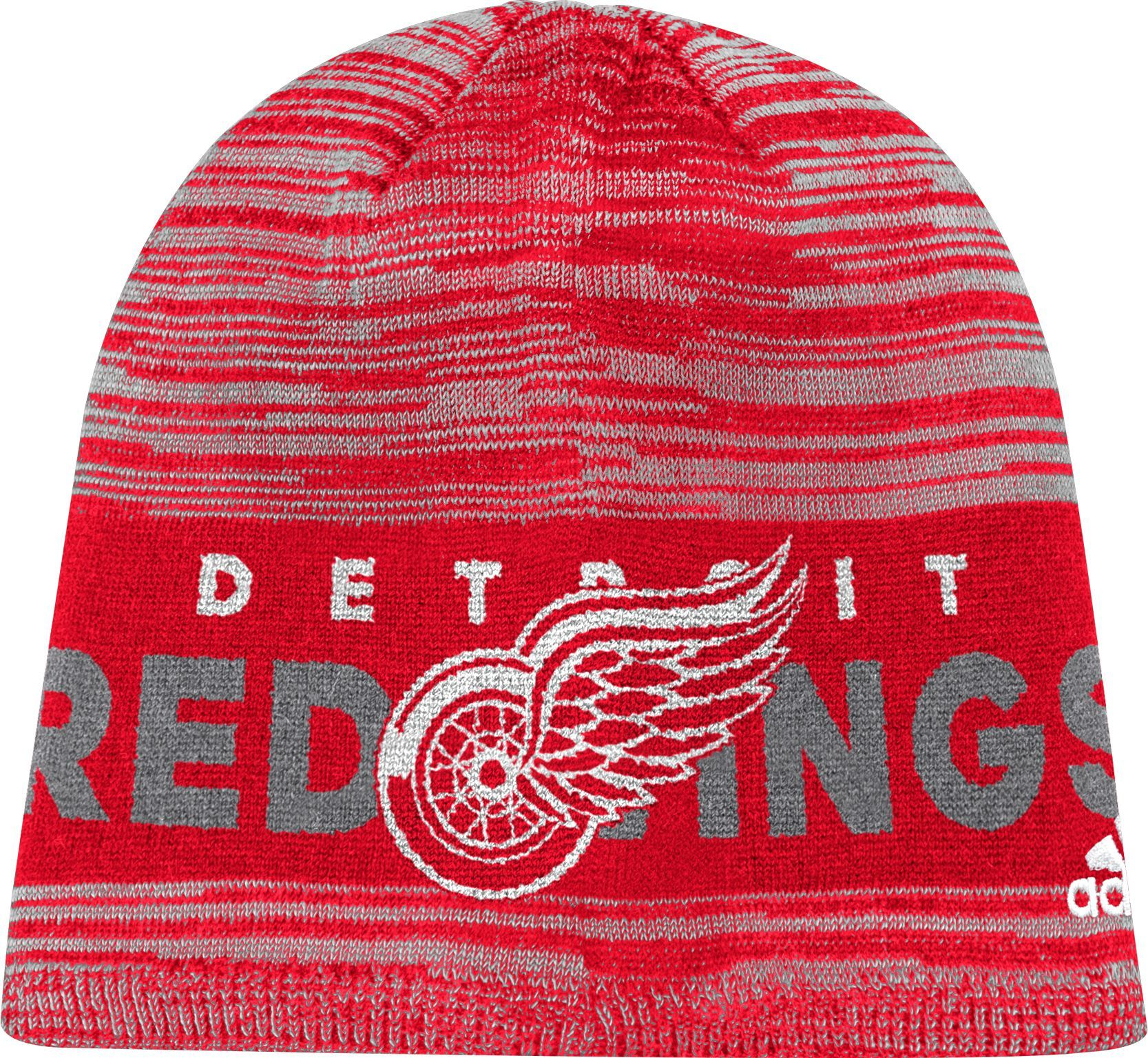 adidas Men s Detroit Red Wings Locker Room Red Knit Beanie 22b24445a