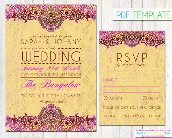 Hindi Wedding Invitation: Bollywood Party Invitation