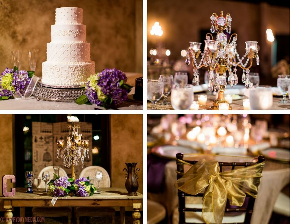Gold and purple wedding decor. Beautiful 4 tiered wedding cake.   Centerpieces by Artistique Designs. Cake by Virginia's Cakes (http://www.virginiascakes.com/). Venue: Mia Bella Vita (http://www.miabellavita.com).