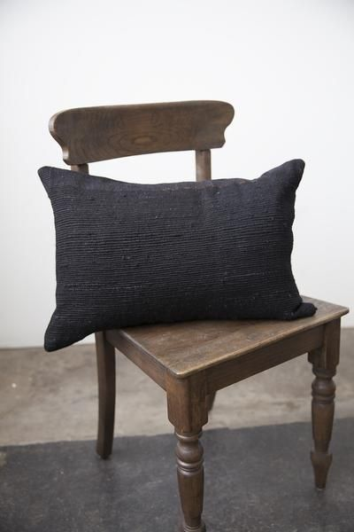 Handwoven Pillow - Black Wool & Banana Fibre