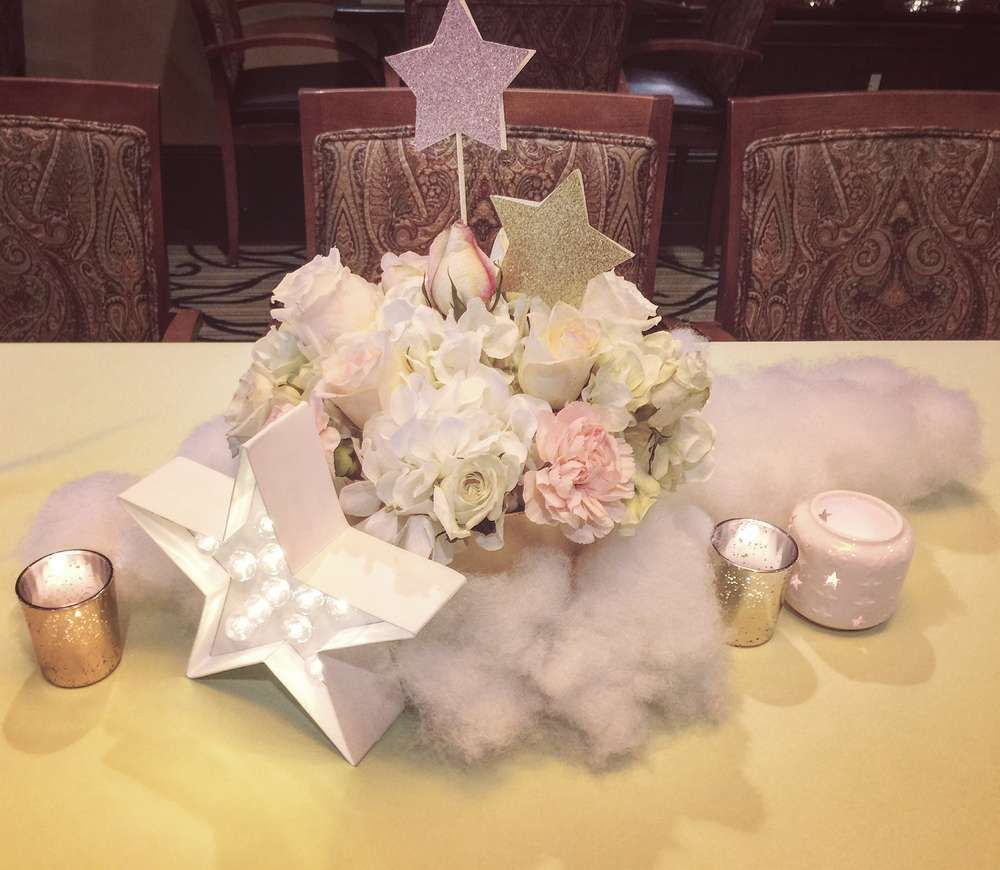 Twinkle twinkle little star baby shower party ideas star for Cloud centerpieces