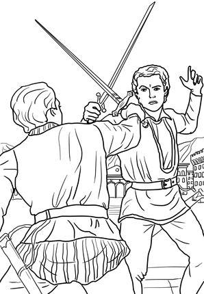 romeo y julieta escena del duelo dibujo para colorear