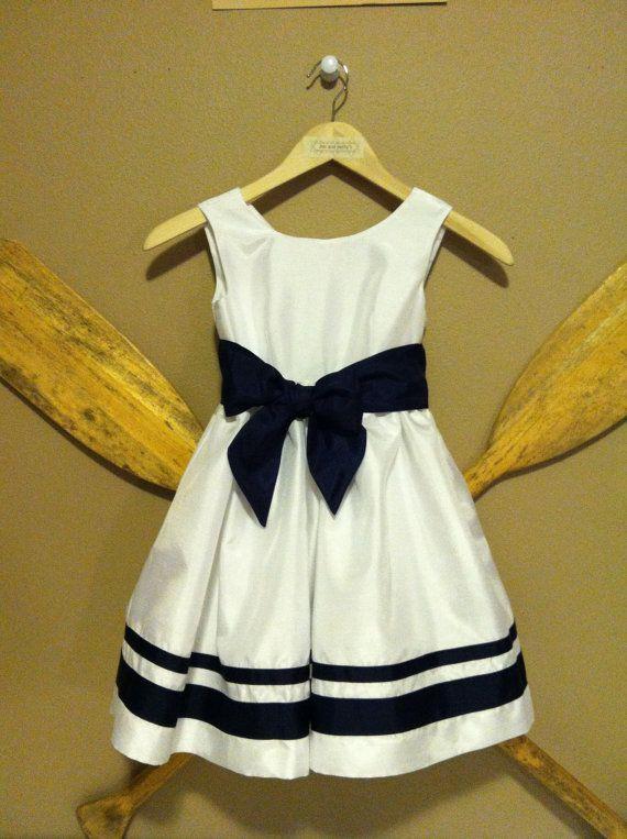 White Nautical Flower Girl Dress by jimandbettys on Etsy | Wedding ...