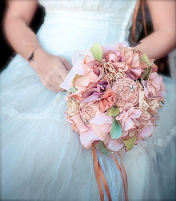 Tea Stained Fabric Bouquet - Medium Fabric Flower Bouquet, Vintage ...