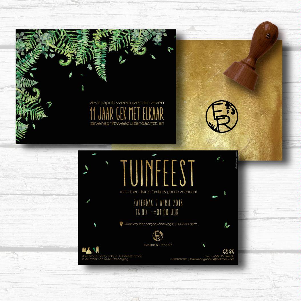 Stoere uitnodiging voor feest botanisch met zwart en goud wil jij wil jij ook een kaart op maat laten maken voor je huwelijk of voor een feest mail ons gerust voor de mogelijkheden zelf reheart Image collections