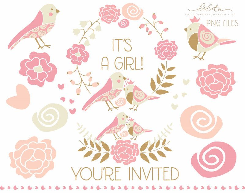 Baby shower, It's a girl, You're invited clip art set | A girl ...