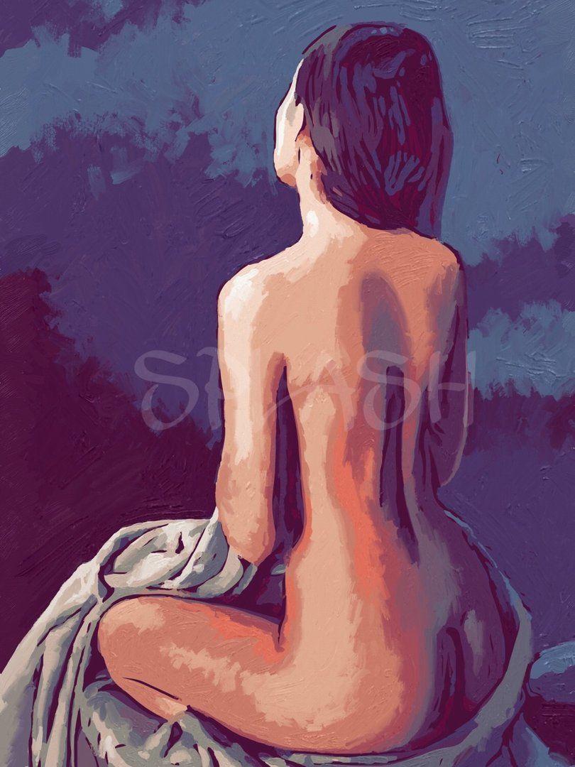 Cuadro Desnudo Artístico Sobre Fondo Azul Sp302 Love Pervert En
