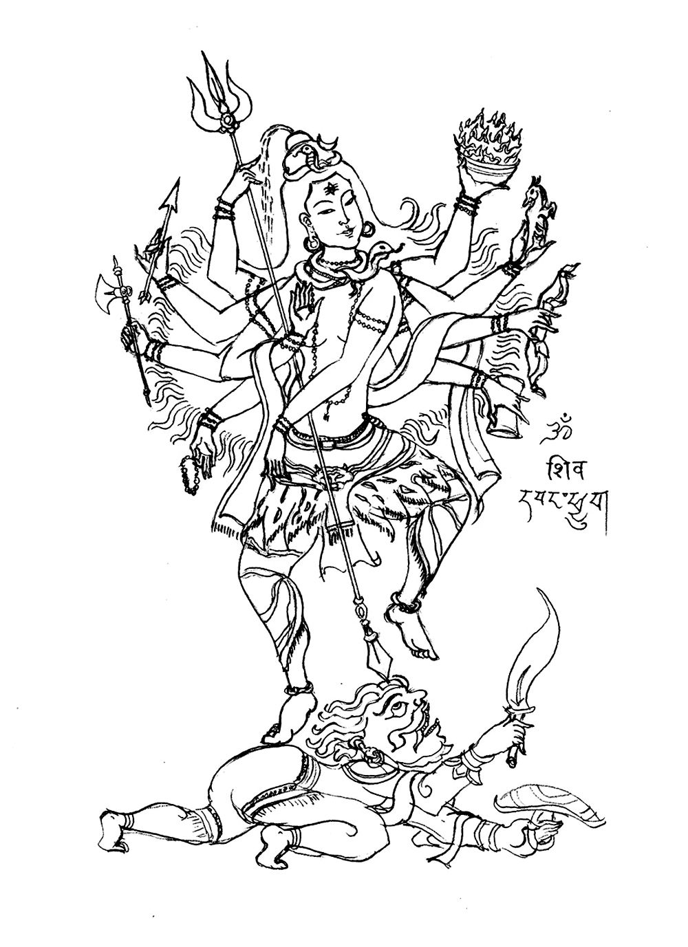 coloring page of shiva the 8 arms u0027 god creator of the world in