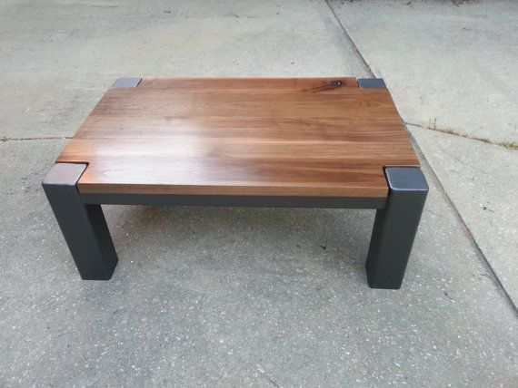 Walnut and steel coffee table claus pinterest mesas for Muebles de madera industrial acero