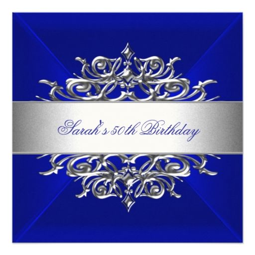 Royal Blue On Silver 50th Birthday Party Personalized Invite