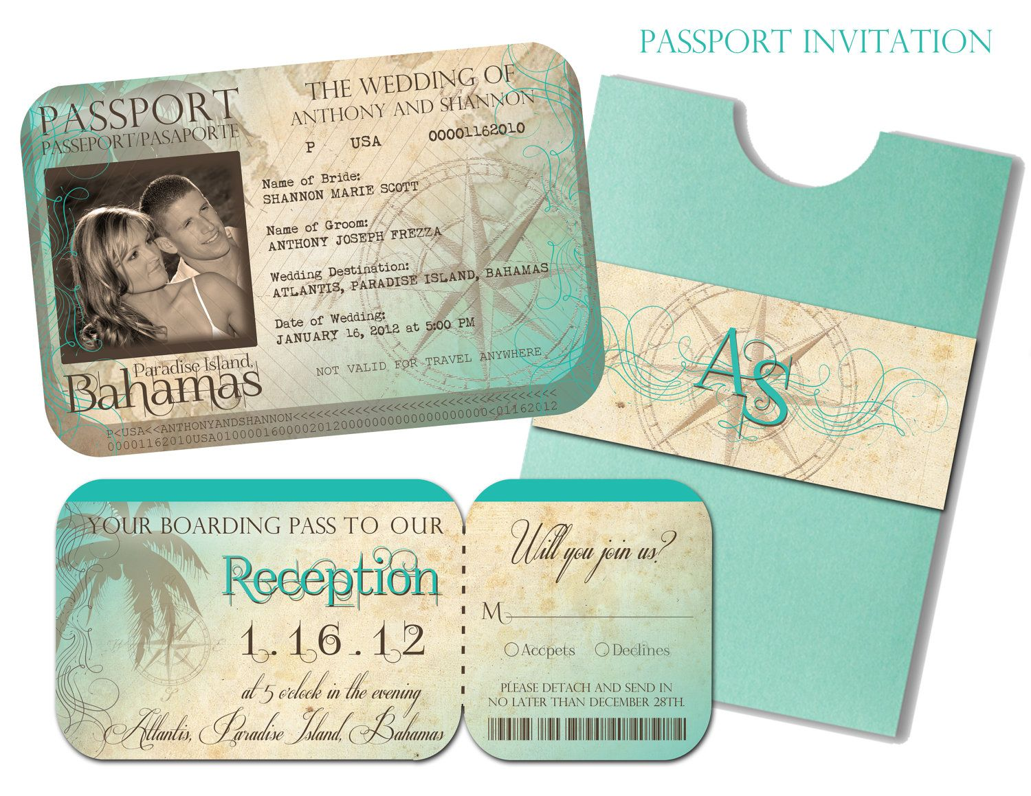 Passport Wedding Invitation and Boarding Pass Reception and RSVP ...