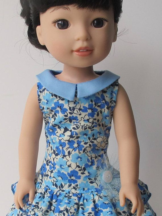Blue Floral 1930's Dress Fits Wellie Wishers And 14 Inch Dolls