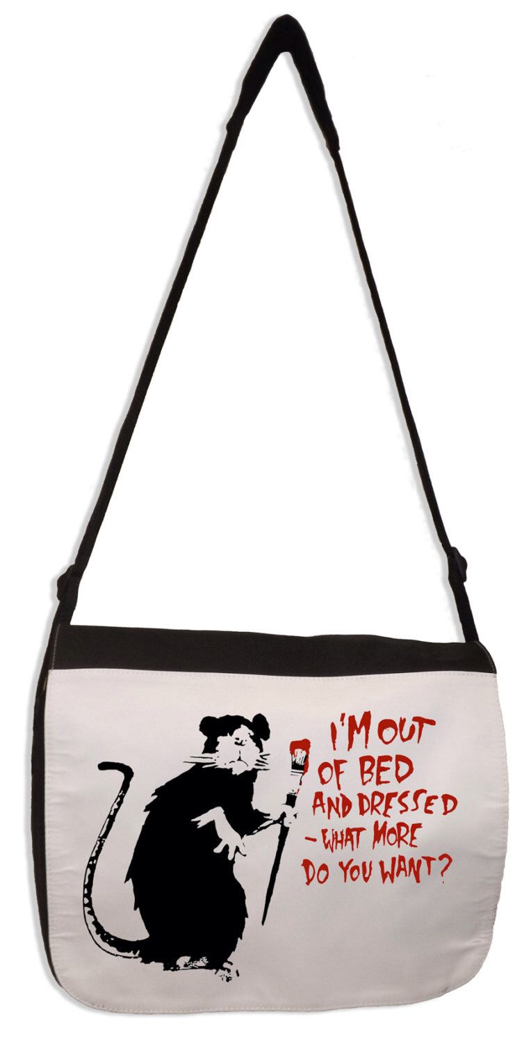 Banksy I'm Out Of Bed And Dressed Rat Laptop Messenger Bag by Tribaltshirts on Etsy https://www.etsy.com/listing/231668919/banksy-im-out-of-bed-and-dressed-rat